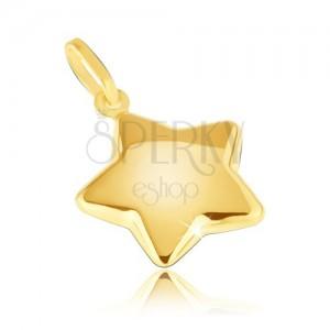 Přívěsek ze žlutého14K zlata - zaoblená třpytivá pěticípá hvězda