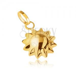 Zlatý přívěsek 585, trojrozměrné blyštivé sluníčko, špičaté paprsky