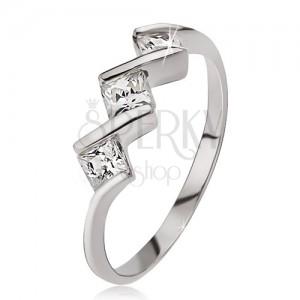 Stříbrný prsten 925, tři čiré čtvercové kamínky