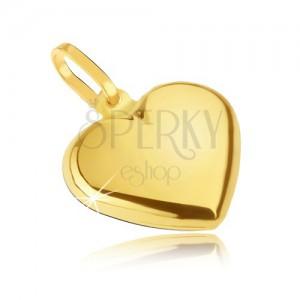 Zlatý přívěsek 585 - hladké pravidelné srdce, zrcadlově lesklé