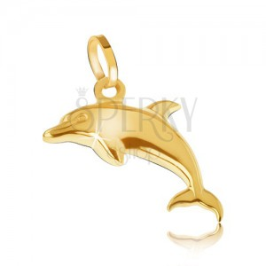 Přívěsek ze žlutého 14K zlata - blyštivý trojrozměrný skákající delfín