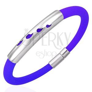 Gumový náramek s kovovou ozdobou - kapky, modrý