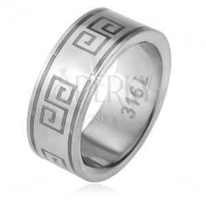 Prsten z oceli 316L, matný povrch, vzor řeckého klíče