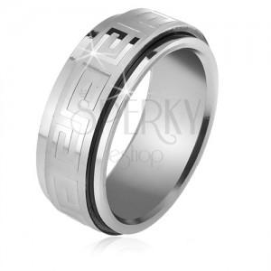 Ocelový prsten, točící se matná obruč s lesklým řeckým klíčem