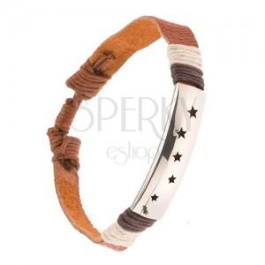 Kožený náramek, skořicově hnědý pás, ocelová známka, výřezy hvězd