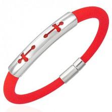 Kulatý silikonový náramek - 2 kříže, oranžový
