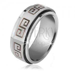 Lesklý prsten z oceli - matná točící se obruč, šedý řecký klíč