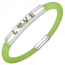 Silikonový náramek s nápisem LOVE, zářivě zelený