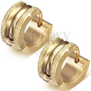 Kruhové zlaté náušnice z oceli, vyvýšené pískované pásy, lesklý střed