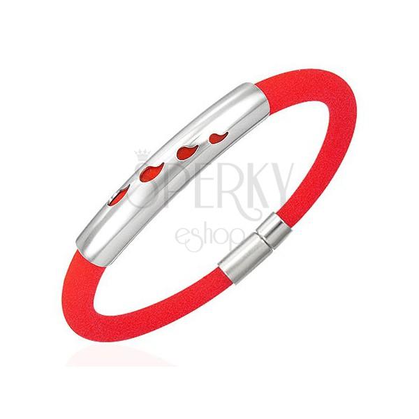 Náramek z gumy - 4 slzičky, červený