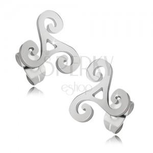 Lesklé ocelové náušnice stříbrné barvy, keltská spirála