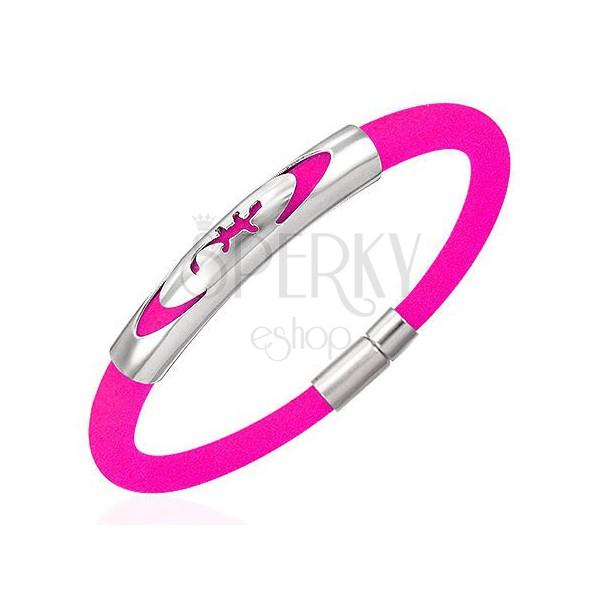 Gumový náramek - ještěrka v elipse, růžový