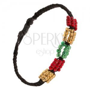 Černý pletený šňůrkový náramek, barevné korálkové ovály