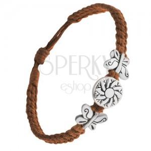 Náramek z čokoládově hnědých šňůrek, motýli, známka s květem