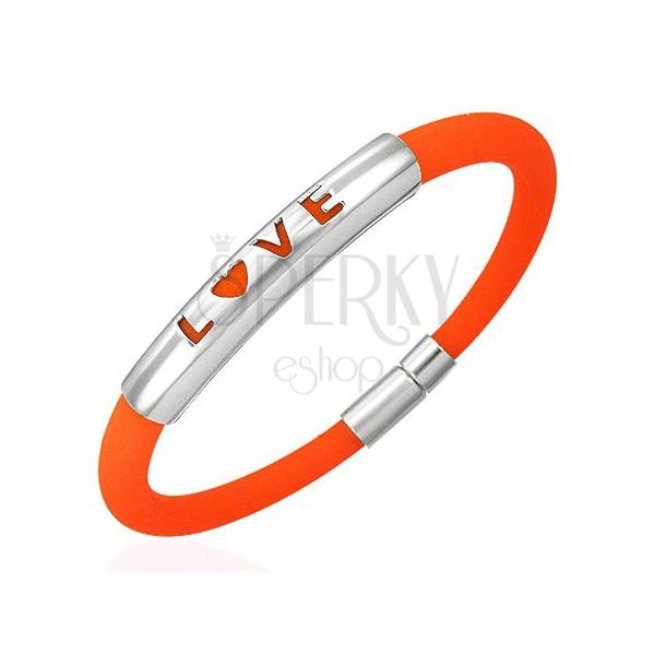 Oranžový silikonový náramek - LOVE