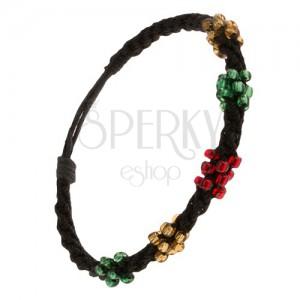Spirálový náramek z černých šňůrek, korálky tří barev