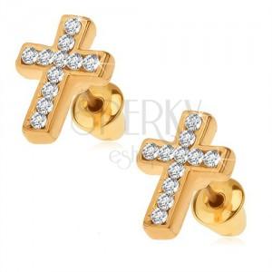 Náušnice zlaté barvy, latinský kříž s čirými kamínky