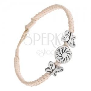 Krémově bílý šňůrkový náramek, kruhová známka s květem, motýli