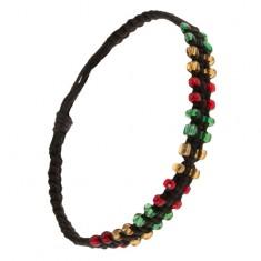Černý pletený náramek ze šňůrek, barevné korálkové okraje S19.02