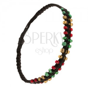 Černý pletený náramek ze šňůrek, barevné korálkové okraje