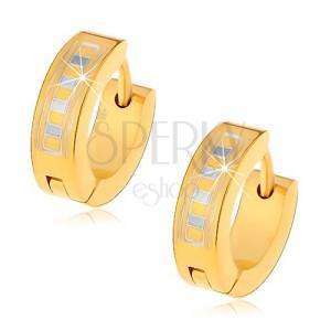 Lesklé kruhové náušnice z oceli 316L ve zlatém odstínu s řeckým vzorem
