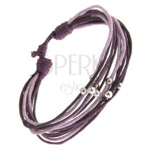 Náramek z fialových a černých šňůrek, kuličky stříbrné barvy