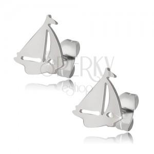 Lesklé náušnice z oceli stříbrné barvy, loď
