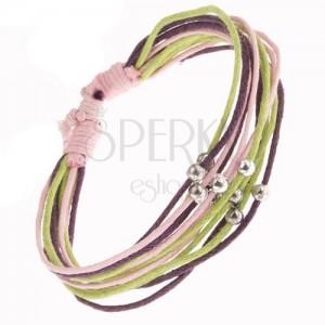 Náramek z růžových, fialových a zelených šňůrek, stříbrné korálky