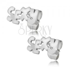 Lesklé ocelové náušnice stříbrné barvy, SEXY