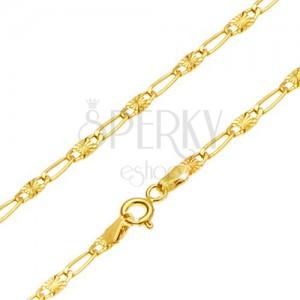 Zlatý řetízek 585 - podlouhlé očko, článek s paprskovitým rýhováním, 550 mm