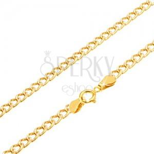 Řetízek ze žlutého 14K zlata - oválná hrubší očka, rýhování, 550 mm