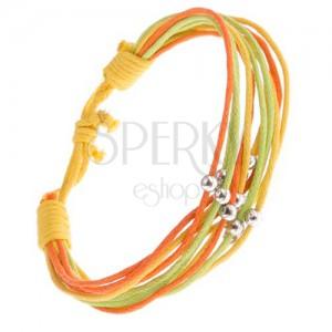 Šňůrkový multináramek žluté, oranžové a zelené barvy, kuličky