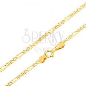 Řetízek ze žlutého 14K zlata - tři očka, obdélník v článku, 500 mm