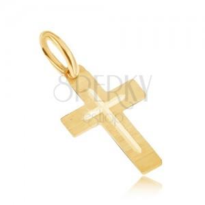 Přívěsek ve žlutém 14K zlatě - plochý saténový latinský kříž, gravírovaný