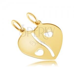 Dvojpřívěsek ve žlutém 14K zlatě - přelomené lesklé srdce, výřezy ve tvaru srdíček