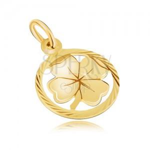 Přívěsek ze žlutého 14K zlata - větší lesklý čtyřlístek v kruhovém rámu