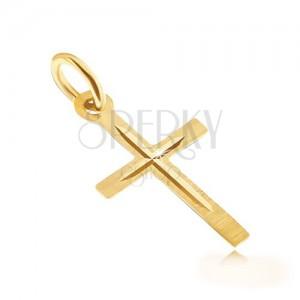 Zlatý přívěsek 585 - saténový latinský kříž, lesklý vyrytý menší křížek