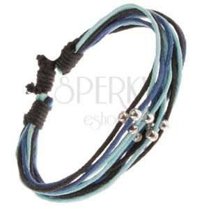 Multináramek, modré a černé šňůrky s kuličkami stříbrné barvy
