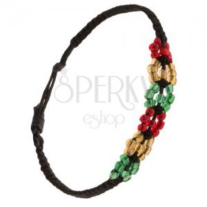Korálkový náramek, černá šňůrka, barevné kruhy