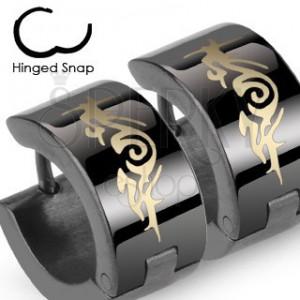 Kruhové černé ocelové náušnice, abstraktní ornament