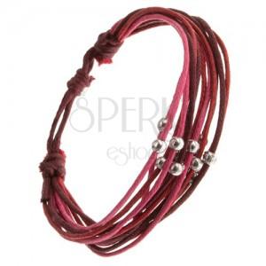Multináramek, červené, růžové a fialové šňůrky, lesklé kovové kuličky
