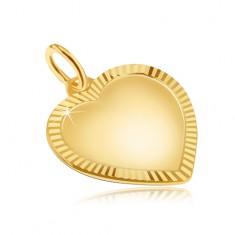 Zlatý přívěsek 585 - velké pravidelné matné srdce, blyštivá rýhovaná obruba GG29.17