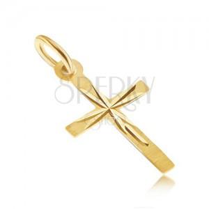 Přívěsek ve žlutém 14K zlatě - tenký latinský kříž, saténový povrch, paprsky