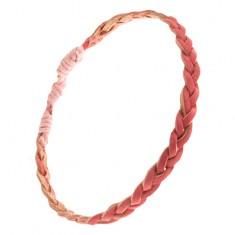 Růžový náramek z kůže, zaplétaný cop S20.01
