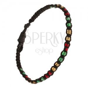 Náramek na ruku, černá šňůrka, barevný korálkový pás
