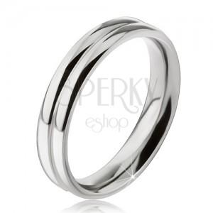 Prsten z oceli 316L, efekt dvou zaoblených obrouček, 6 mm