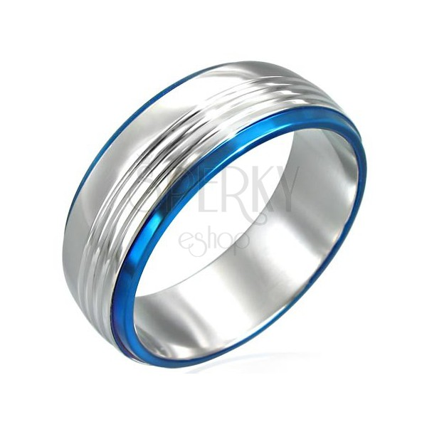 Prsten z chirurgické oceli se dvěma modrými pruhy