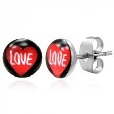 Ocelové náušnice srdce s nápisem LOVE