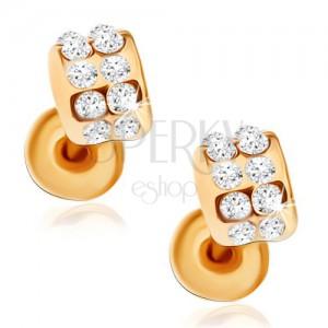 Puzetové náušnice zlaté barvy, zirkonové půloblouky