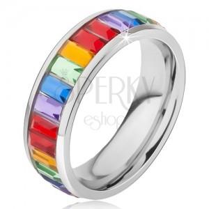 Prsten z chirurgické oceli, lesklý barevný kamínkový pás